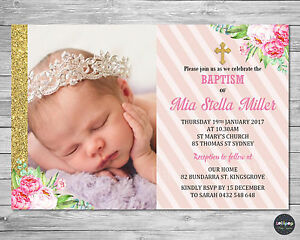Details About Floral Christening Baptism Invitation Invite Card Personalised Girl Pink Gold