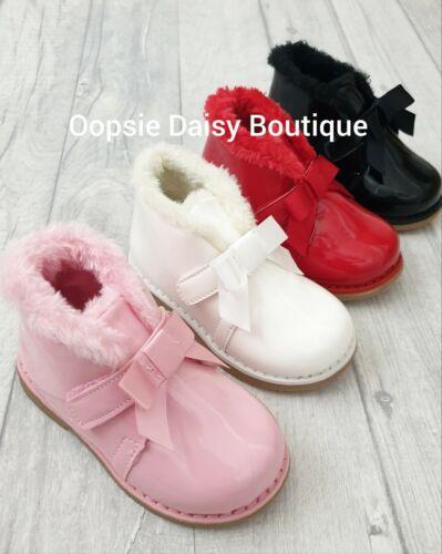 Brand New Kelsi Girls Infants Plain Bow Shimmer Shoes Sizes 3 To 7