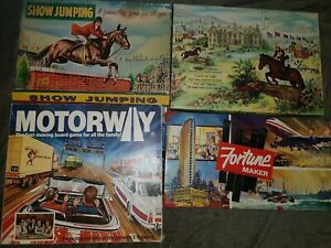 Vintage-Board-Game-Bundle-Cheval-de-Saut-d-039-obstacles-autoroute-Fortune-Free-p-amp-p