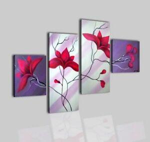 Quadri moderni dipinti a mano su tela con fiori viola for Quadri moderni fiori dipinti a mano