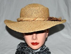 Vintage 1940s Ladies Wide Brim Sunhat with Accent Scarf 21 in