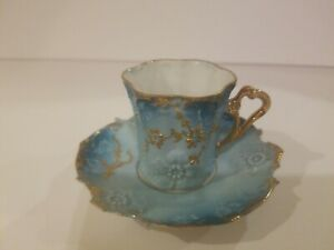 Miniature-Porcelain-Tea-Cup-amp-Saucer-Blue-with-Gold-Trim-Hand-Painted-China-Mini