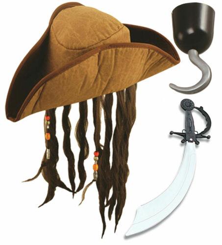 Adulte Pirate Chapeau Marron en Plastique Crochet /& épée Caraïbes Fête Robe Fantaisie Set