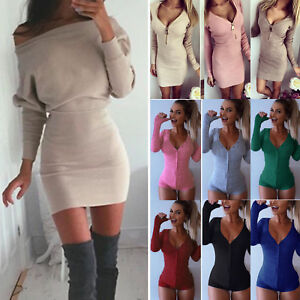 Women-Knitted-Sweater-Jumper-Party-Mini-Dress-Slim-Bodycon-Bodysuit-Leotard-Tops