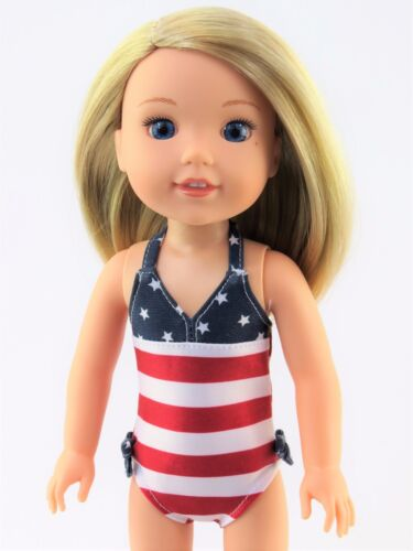 """American Flag Bathing Suit Fits Wellie Wishers 14.5/"""" American Girl Clothes"""