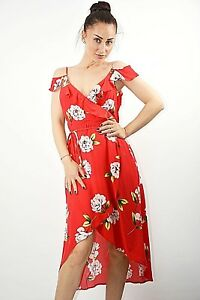 aa705c03855 Ex New Look Petite Red Floral Print Cold Shoulder Ruffle Midi Dress ...