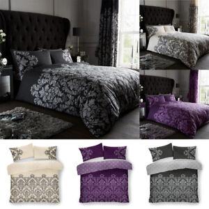 Royal Damask Design Luxurious Modern Duvet Cover Sets Reversible Bedding Sets LW
