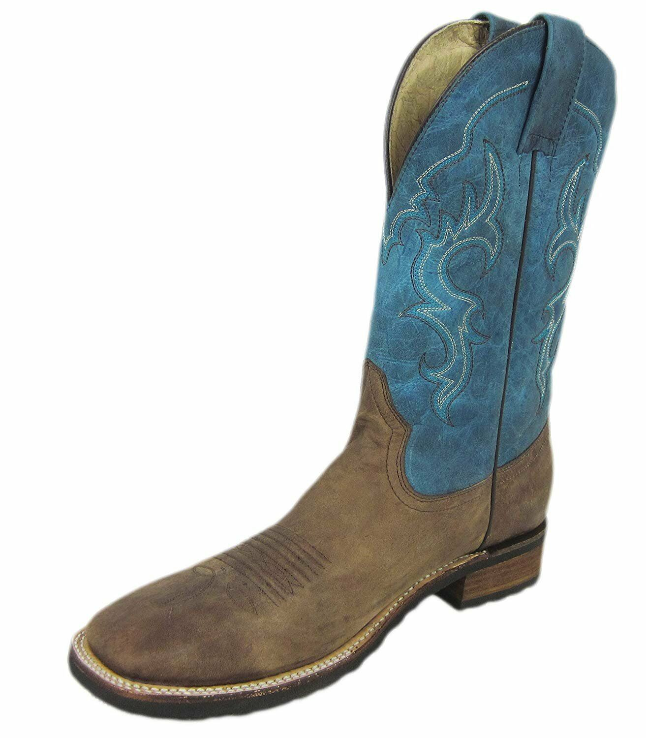CORRAL Circle G Men's bluee Brown Rubber Sole Sq Toe Western Boots L5234