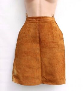 Women-039-s-Vintage-High-Waist-Brown-Tan-100-Leather-Straight-Pencil-Skirt-UK4-UK6