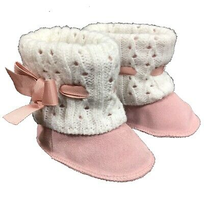 76da44b6778 JUICY COUTURE Pink Suede Ivory Knitted Baby Bootees Boots UK2.5 EUR18 | eBay