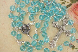 Catholic-Rosary-Aquarmarine-BLUE-7mm-Cut-Glass-Beads-NOS-Nice-quality