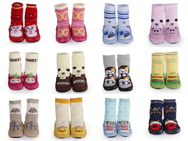 Newborn Baby Infant Indoor Leather Soft Sole Anti-Slip Knitted Shoes Boots Socks