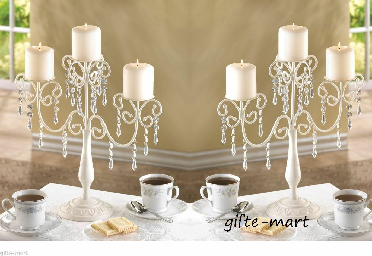 5 Ivory white crystal CANDELABRA Candle holder Wedding party table centerpiece