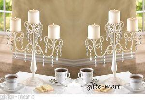 15 Bulk Ivory White Crystal CANDELABRA Candle Holder Wedding Table Centerpiece
