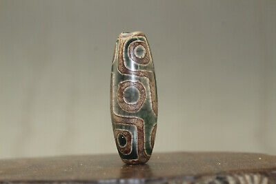 tibetan prayer worry dzi bead old agate 9 eyes amulet gzi antique tibet