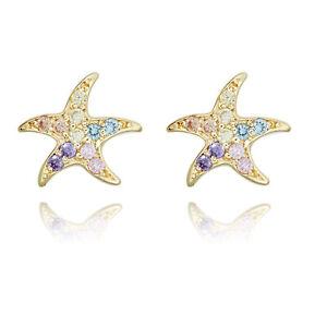 14k Yellow Gold Madi K Childrens CZ Starfish Post Earrings SE2563