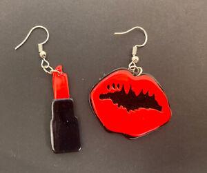 Dangle Earrings Red Lipstick Acrylic Earrings Funky Earrings