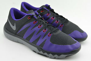 3094d5814b8d5 MENS NIKE FREE 5.0 TR TCU ID RUNNING SHOES SIZE 13 BLACK PURPLE GRAY ...