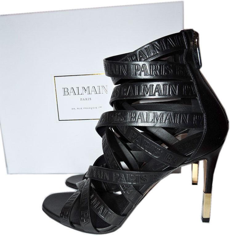 1190 1190 1190 BALMAIN Charlotte Strappy Gladiator läder Sandals Pump skor 39.5 Booslips  spara på clearance