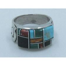 MENs .925 Sterling Silver  Multi-gemstone Turquoise Running Bear Ring Size 8 1/2