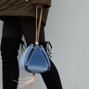 Womens-Ostrich-Feather-Bag-Chain-Velvet-Drawstring-Purse-Handbag-Lady-Clutch-Bag