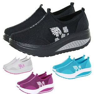 Women Shoes Sneakers Platform Trainers Shape Ups Fitness Walking Sport Athletic
