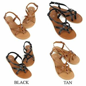 cc5d6e851f7 Image is loading New-Womens-Sandals-Strappy-Faux-Leather-Gladiator-Thong-