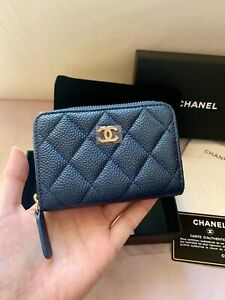 shoes for cheap 2019 best fashionable and attractive package Details about NEW CHANEL 18S Petrol Dark Blue Caviar ZIppy Coin  Purse-Cardholder, LGHW