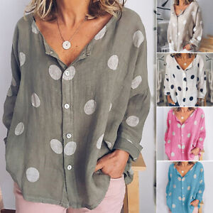 Women-039-s-V-Neck-Tops-Long-Sleeve-T-Shirt-Casual-Dot-Printed-Summer-Blouse-GIFT