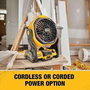 Spedizione-rapida-DEWALT-20-Volt-Strumento-MAX-Jobsite-ventilatore-funziona-con-filo-o-cordless