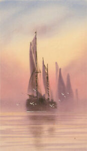 Fred-Stafford-fl-1890-1910-Late-19th-Century-Gouache-Sailing-Ship-at-Sunset