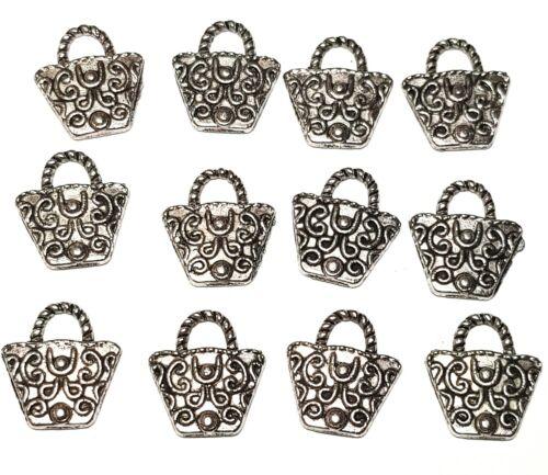12 X Colgantes Antiguo Plata Tibetana Dijes Bolso Estilo fabricación de joyas