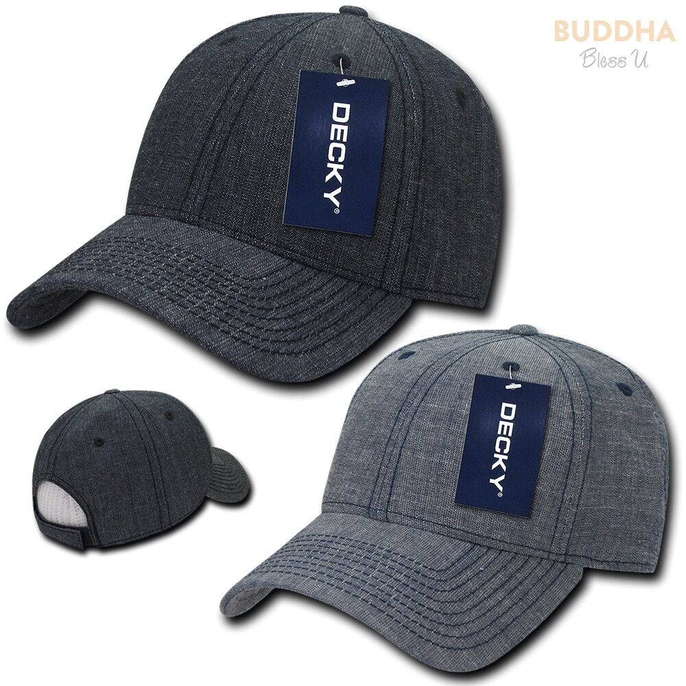 DECKY Structured Washed Denim Hats Low Crown Curved Bill Dad Hats Denim Caps 729c1b