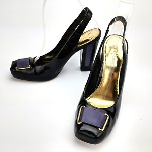 Vince-Camuto-Delano-Slingback-Pumps-Leather-Black-Purple-Ribbon-Size-7-5-B