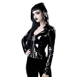 KILLSTAR-Love-In-Vain-Lack-Kapuzen-Top-PVC-Vinyl-Zip-Hoodie-Jacket-Pentagramm