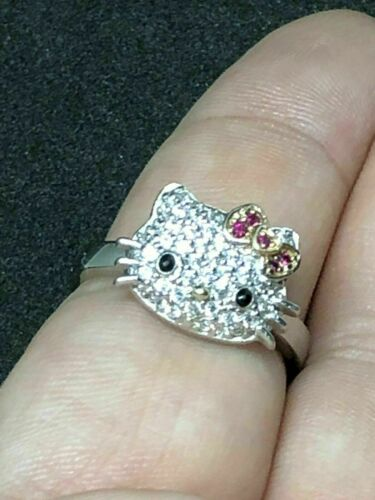 Details about  /Cute Kitty Face White Round Diamond Beautiful Engagement Ring 925 SterlingSilver
