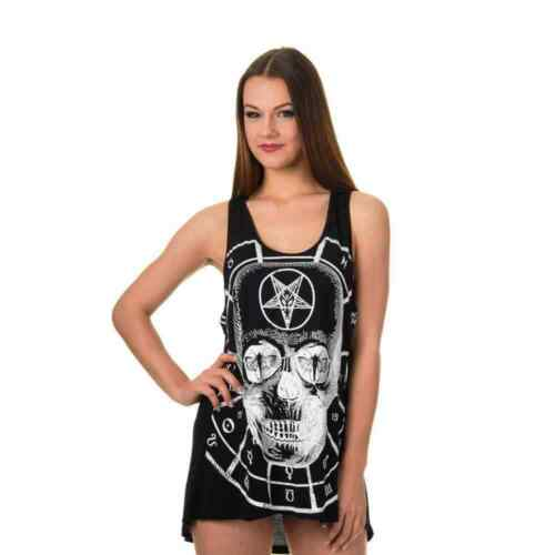 Banned Traveling Alone Skull Top Black Goth Punk Metal