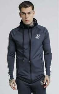 SikSilk-Mens-Long-Sleeve-Top-Full-Zip-Poly-Hoodie-Athlete-Tech-Tape-Dark-Grey