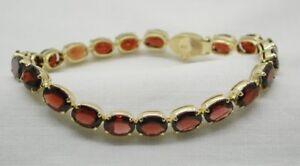Beautiful-Vintage-Heavy-Quality-18-Carat-Gold-And-Garnet-Line-Bracelet