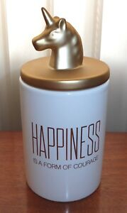 White Ceramic Gold Unicorn Head Happiness is Courage Canister Vanity Bath Jar