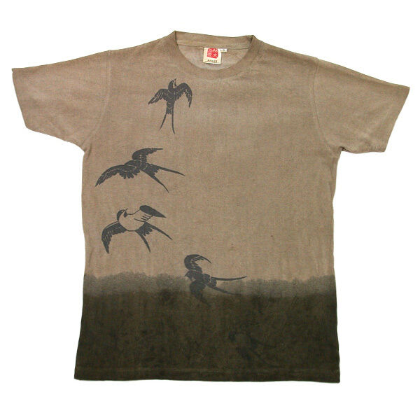 Natural and Hand dyes Mitsuru unisexed T-shirt made in Japan kakishibu swallow