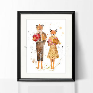 Fantastic Mr Fox Print Watercolor Picture Wall Art Framed Canvas Gift Nursery Ebay