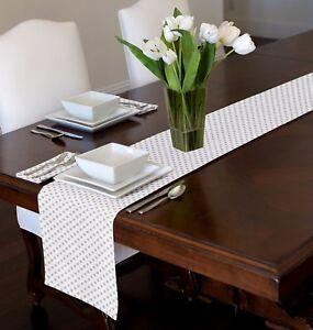 White Grey Modern Polka Dot Table Runner Topper Sweet Jojo Designs