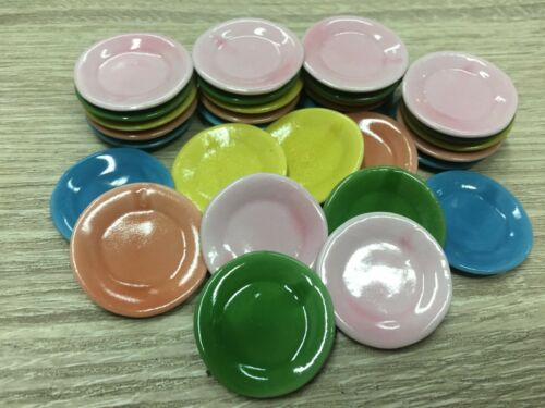 30 x 3.00 cm Colorful Round Dishes Plates Dollhouse Miniatures Ceramic Cookware