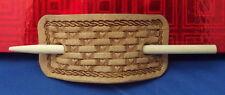 LEATHER Handmade Western Hair Stick Pony Tail Bun Holder - HEART Basket Weave