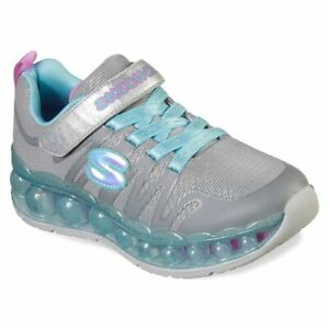 Skechers-Skech-O-Sphere-Girls-Sneakers-Gray-with-Aqua-and-Pink-Slip-on