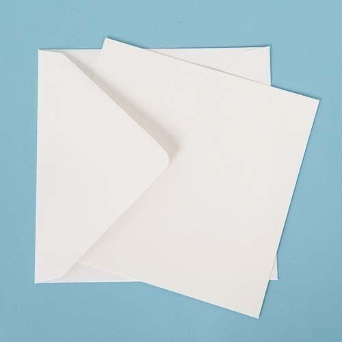 """25 Large Square Postcard Blanks White Linen /& 6/"""" Envelopes 155mm"""