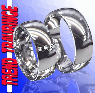 2 Silber Partnerringe Trauringe Verlobungsringe Eheringe & Gravur Gratis T24-32 Schrumpffrei