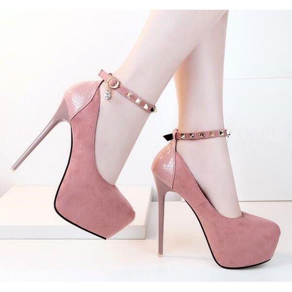 decolte stiletto 14 eleganti rosa cinturino plateau cinturino simil pelle 8419