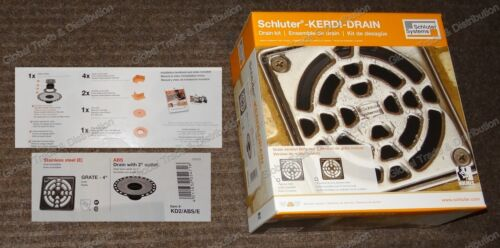 "Schluter Systems Kerdi Shower Drain Kit KD2//ABS//E 4/"" Stainless Steel Grate"